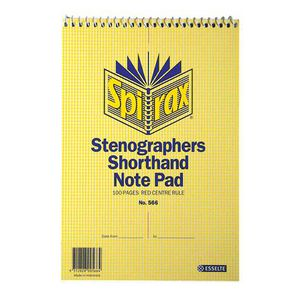Spirax No. 566 Stenographer Shorthand Notepad 100 Page
