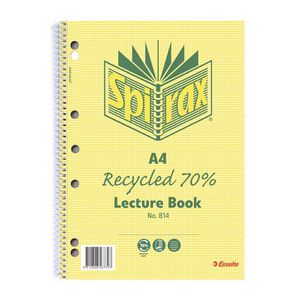 Spirax No.814 A4 Recycled 70% Lecture Book - 140 Pages