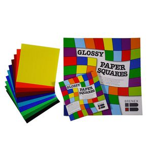 Brenex Paper Squares Gloss 254mm Assorted Colours 100 Pack