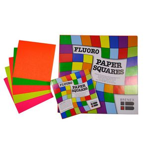 Brenex Paper Squares 127mm Fluoro Colours 100 Pack