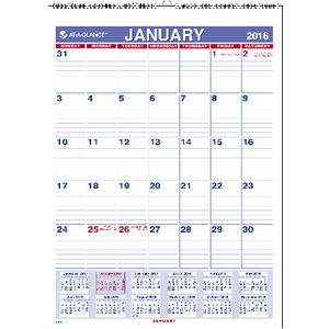 At A Glance Monthly Wall Calendar 2016 203 x 281mm