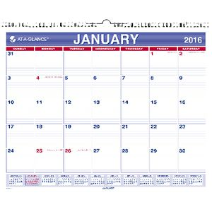 At A Glance Monthly Wall Calendar 2016 381 x 305mm