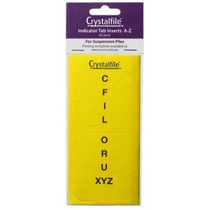 Crystalfile Indicator Tab Inserts A-Z Yellow 60 Pack