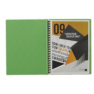 Display Book A4 20 Pocket Refillable Embossed Lime