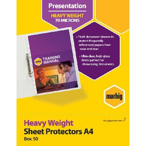Marbig Sheet Protectors Heavyweight A4 Box of 50