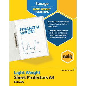 Marbig Sheet Protector A4 Light Weight 300 Pack