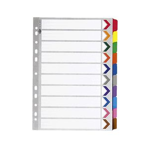 Marbig A4 10 Tab Coloured Dividers