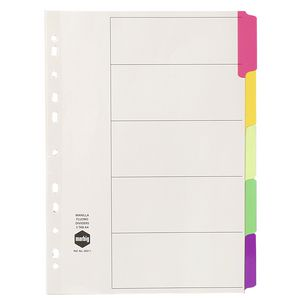 Marbig A4 5 Tab Divider Fluoro White
