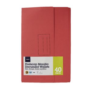 Document Wallet Foolscap 240gsm Assorted Colours 40 Pack
