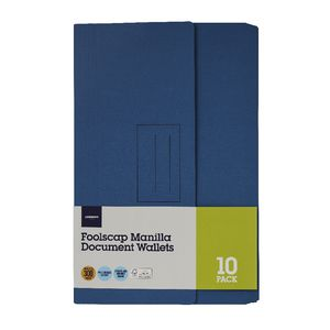 Document Wallet Foolscap 240gsm Navy 10 Pack