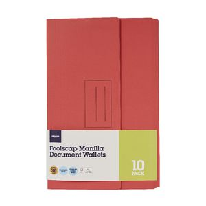 Document Wallet Foolscap 240gsm Red 10 Pack