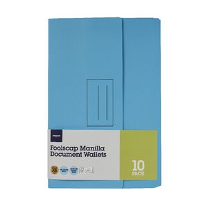 Document Wallet Foolscap 240gsm Light Blue 10 Pack