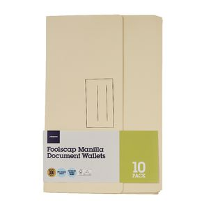 Document Wallet Foolscap 240gsm Manilla 10 Pack