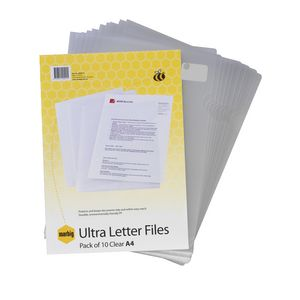 Marbig Letter File A4 Ultra Clear 10 Pack
