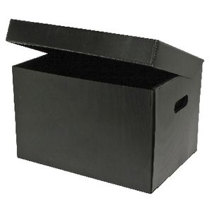 Marbig Corflute Box with Lid Black