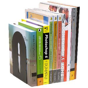 Marbig Rounded Metal Bookends Black