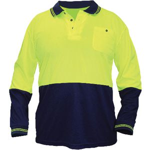 Ace Hi Vis Long Sleeve Polo Shirt Yellow/Navy XL