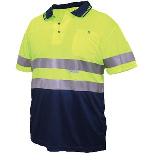 Ace Hi Vis Polo Shirt Reflective Yellow/Navy L
