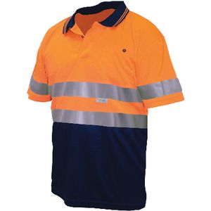 Ace Hi Vis Polo Shirt Reflective Orange/Navy XL