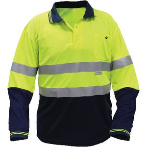 Ace Hi-Vis Long Sleeve Polo Shirt Yellow/Navy XXL