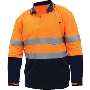 Ace Hi-Vis Long Sleeve Polo Shirt Orange/Navy XXL