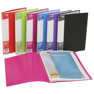 ColourHide Display Book A4 20 Pocket Fixed Assorted Colours