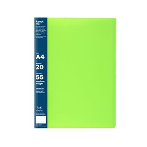 ColourHide Display Book A4 Fixed 20 Pocket Green