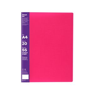 ColourHide Display Book A4 Fixed 20 Pocket Pink