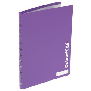 ColourHide Display Book A4 20 Pocket Refillable Heavy Purple