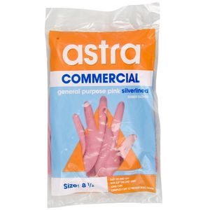Astra General Purpose Silver Lined Rubber Gloves Size 8.5 (M)