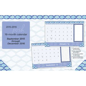 2016 16 Month Desk Pad Posh Indigo