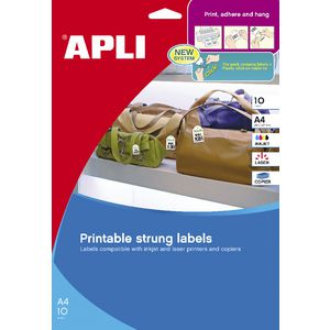 Apli Strung Tickets 36 x 53mm Printable Sheet 10 Pack