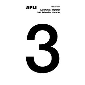 Apli Self Adhesive Number 3 Black and White