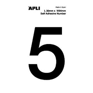 Apli Self Adhesive Number 5 Black and White