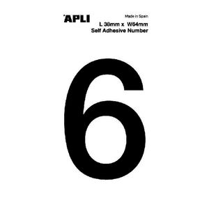 Apli Self Adhesive Number 6 Black and White