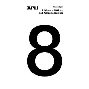 Apli Self Adhesive Number 8 Black and White