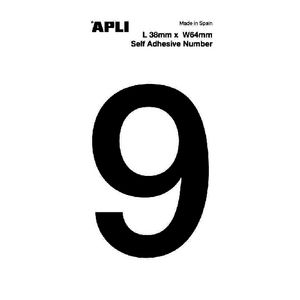 Apli Self Adhesive Number 9 Black and White