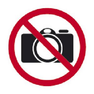 Apli No Photography Self Adhesive Sign