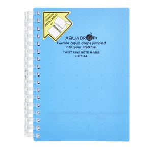 Aqua Drops Twinkle Twist Ring A6 Notebook Blue 70 Page