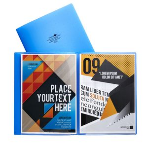Aqua Drops Pocket File A4 6-Page Open Blue