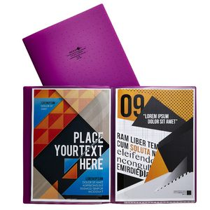 Aqua Drops A4 6 Page Pocket File Purple