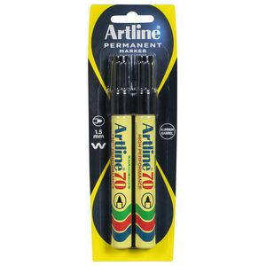 Artline 70 Permanent Marker Black 2 Pack