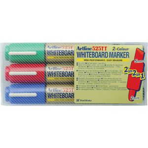 Artline 525TT Dual Nib Whiteboard Marker Assorted 3 Pack