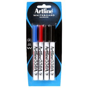 Artline 550A Whiteboard Markers Assorted 4 Pack