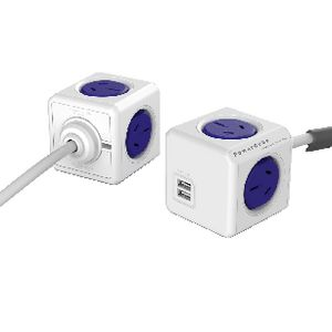 Allocacoc PowerCube 4 Power Outlet and 2 USB Ports 1.5m Blue