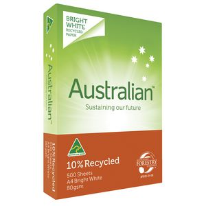 Australian 10% Recycled 80gsm A4 Copy Paper 500 Sheet Ream