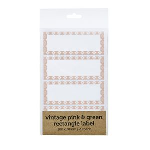 Vintage Flourish Rectangle Label 100 x 38mm 20 Pack