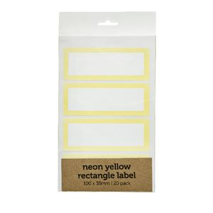 Rectangle Label 100 x 38mm 20 Pack Neon Yellow