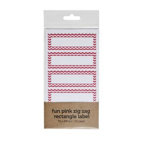 Zig Zag Rectangle Label 70 x 24mm 25 Pack