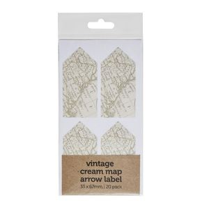 Vintage Map Arrow Label 33 x 67mm 20 Pack